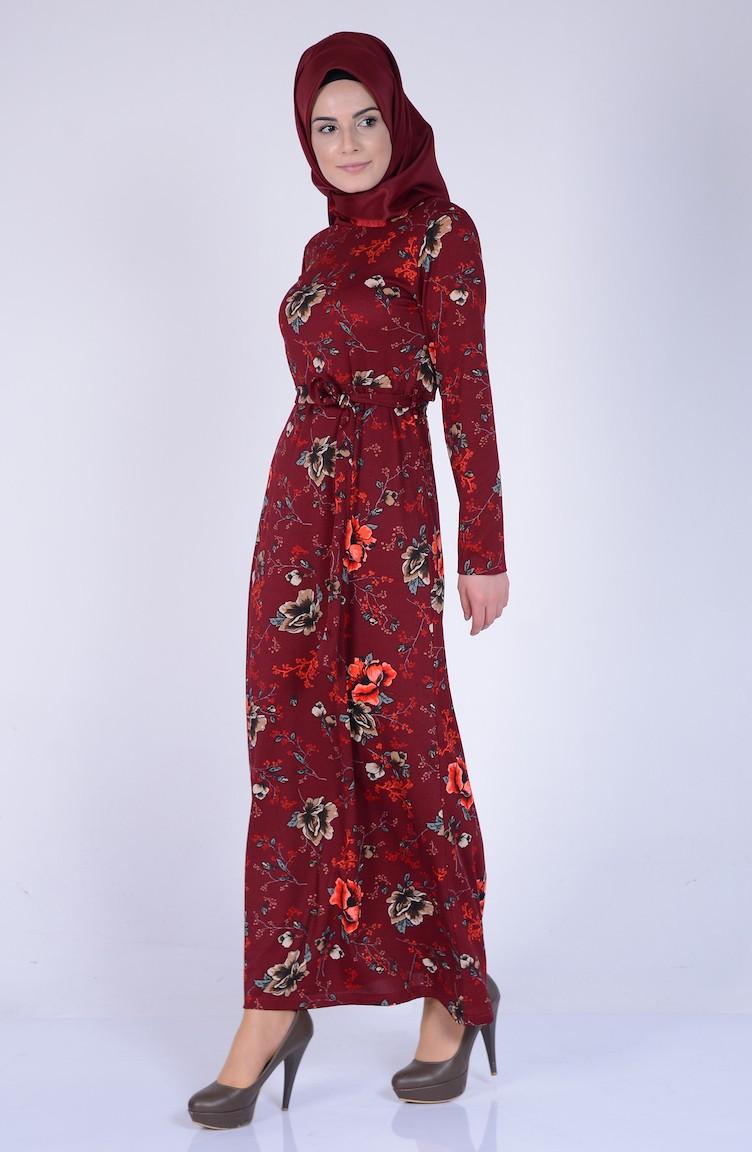 87e134960edec Çiçek Desenli Elbise 8750-02 Bordo