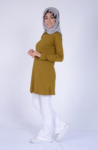Sefamerve Übergröße Hijab Gekämmte Baumwoll 0730-12 Öl Grün 0730-12