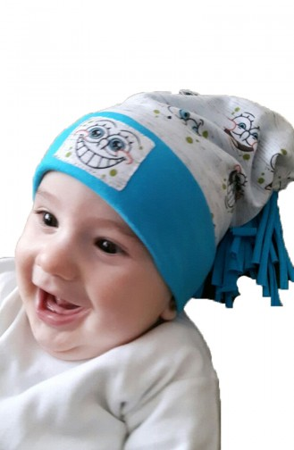 Penye Baskılı Şapka NS027 Gri Turkuaz Mavi