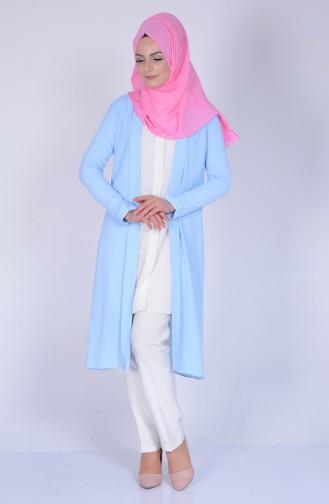 Krep Uzun Ceket 5075-04 Buz Mavi Sefamerve