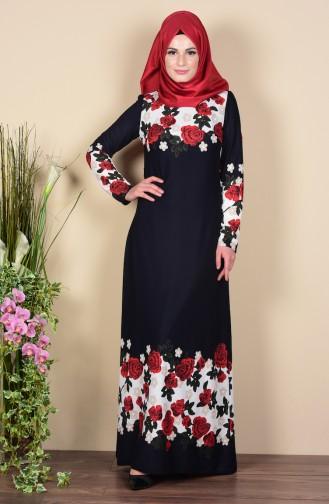 Astarlı Elbise 1610-02 Lacivert Sefamerve