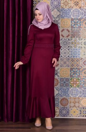 Volanlı İncili Elbise 6084-03 Mürdüm Sefamerve
