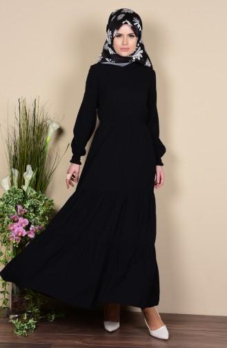 Bürümcük Elbise 7119-08 Siyah Sefamerve