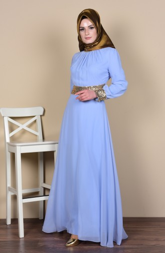 Baby Blues Islamic Clothing Evening Dress 2398-19