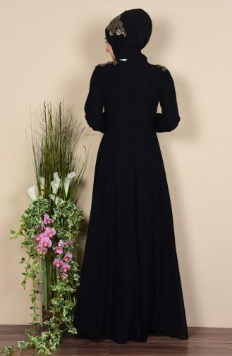 Şallı Dantel Detaylı Elbise 3010-04 Siyah