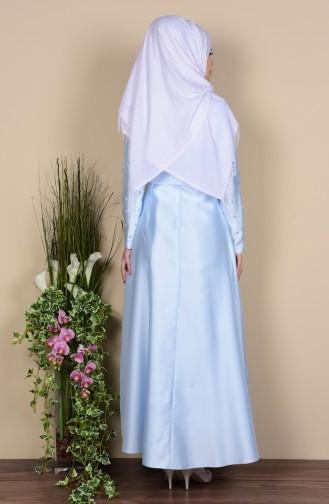 Robe a Ceinture Détail Perles 0001-02 Bleu Bébé 0001-02