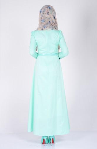 Kemerli Elbise 2781-15 Mint Yeşil 2781-15