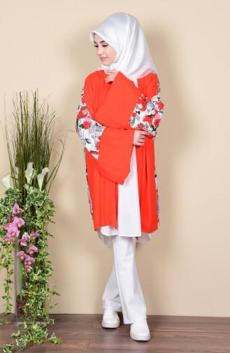 Desenli Salaş Ceket 1081-01 Nar Çiçeği Sefamerve