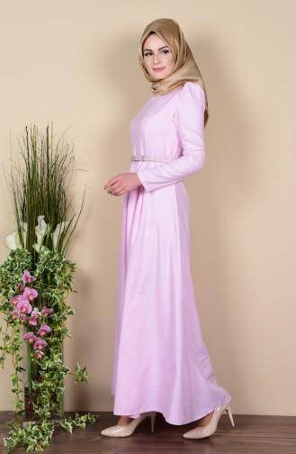 Kemerli Elbise 2781-16 Pudra 2781-16