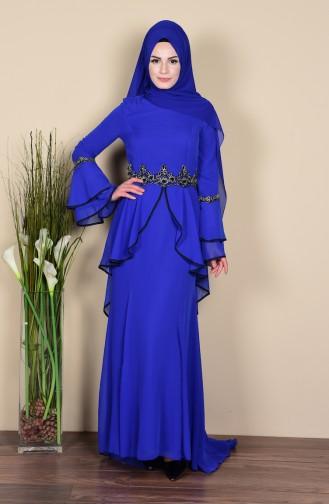 Robe De Soirée a Dentelle 3012-05 Bleu Roi 3012-05