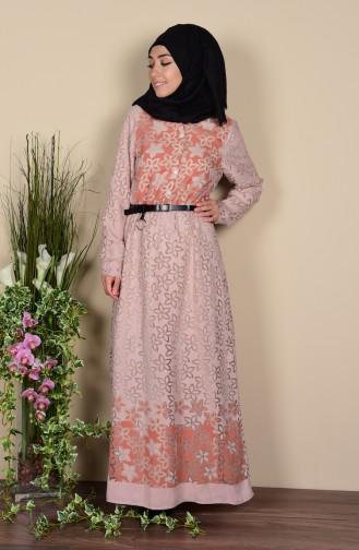 Gemustertes Kleid mit Knöpfen 6533-01 Nerz 6533-01