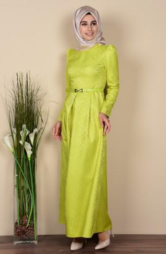 Jakarlı Kemerli Elbise 7116-05 Yağ Yeşil Sefamerve