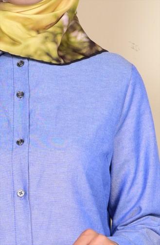 Düğmeli Tunik 6251-22 Koyu Mavi