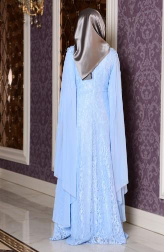 Robe de Soirée a Dentelle Grande Taille 7813-02 Bleu Bébé 7813-02