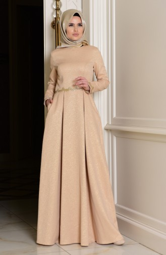 Gold Islamic Clothing Evening Dress 7151-01