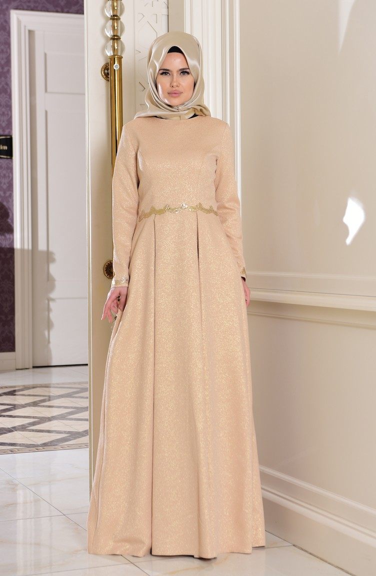 Gold Islamic Clothing Evening Dress 7151 01