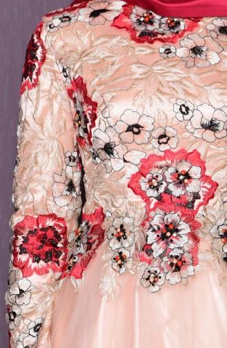 Robe de Soirée Détail Dentelle 7102-02 Saumon Rouge 7102-02