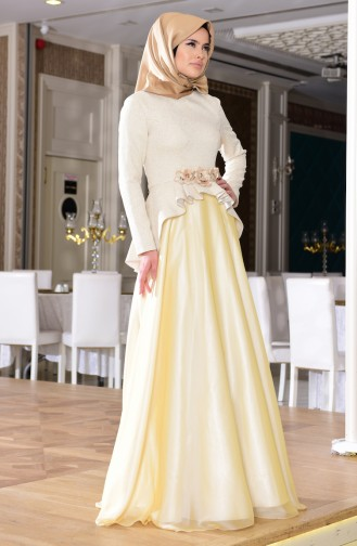 Cream Islamic Clothing Evening Dress 7155-01