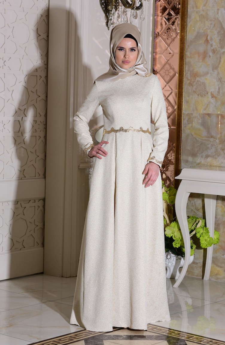 2035784a64ef3 Cream Islamic Clothing Evening Dress 7151-04