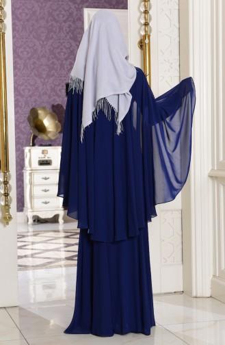 Robe de Soirée Detaillé de Pierre 7221-01 Bleu Marine 7221-01