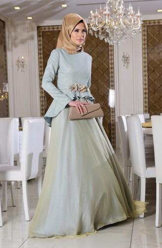 فستان للمناسبات بتفاصيل موردة  7155-03