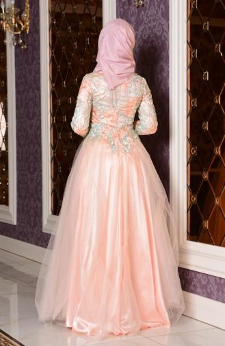 Abendkleid mit Spitzen 7102-01 Lachs Minzengrün 7102-01
