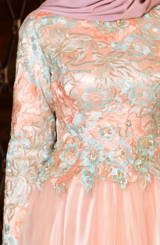 Robe de Soirée Détail Dentelle 7102-01 Saumon Vert Menthe 7102-01