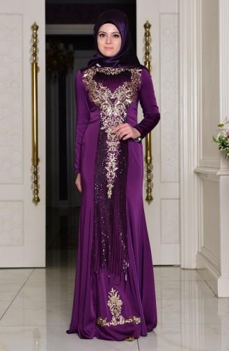 Abendkleid mit Pailetten 7621-02 Lila 7621-02