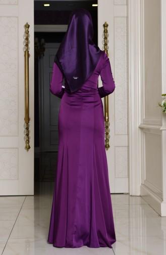 Purple Islamic Clothing Evening Dress 7621-02