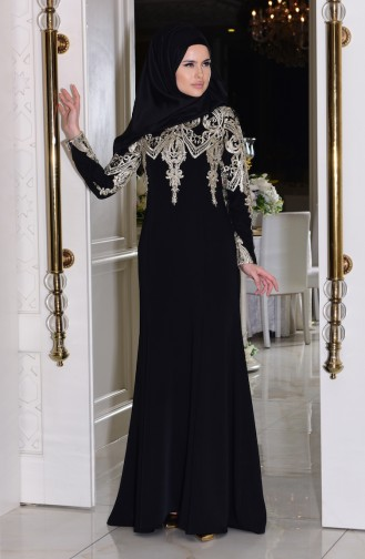 Black Islamic Clothing Evening Dress 7605-02