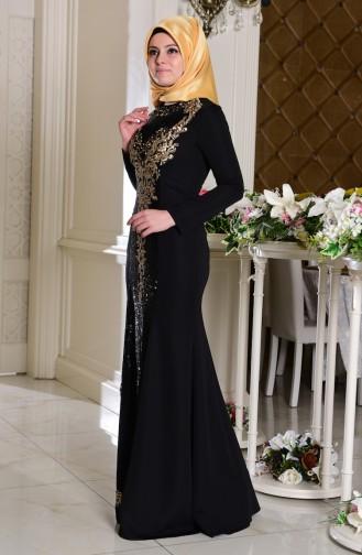 Robe De Soirée Paillette 7621-03 Noir 7621-03