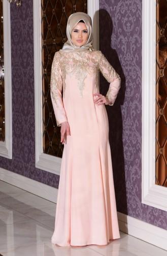 Salmon Islamic Clothing Evening Dress 7605-03