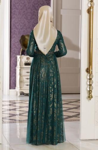 Robe de Soirée Detaillé de Perle 7110-04 Vert emeraude 7110-04