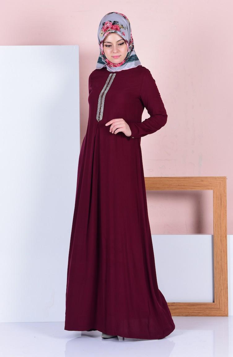 4e1be0e459457 Taş Detaylı Elbise 1292-04 Bordo
