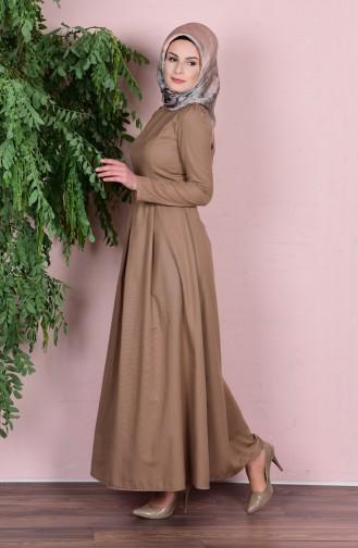 Robe avec Ceinture 2781-18 Café su Lait 2781-18
