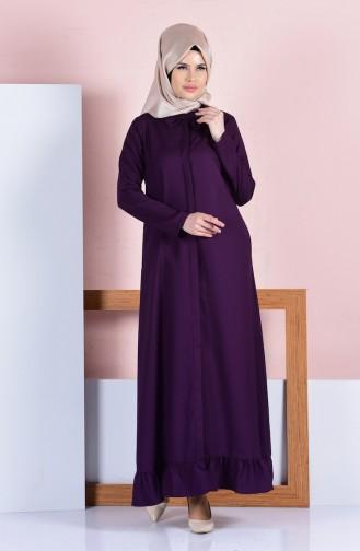Etek Altı Fırfırlı Elbise 8074-03 Mor Sefamerve