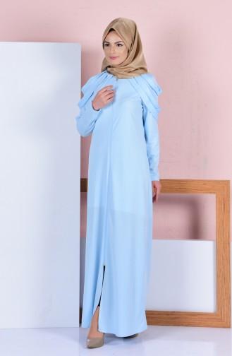 Omuz Detaylı Ferace 3088-03 Buz Mavi
