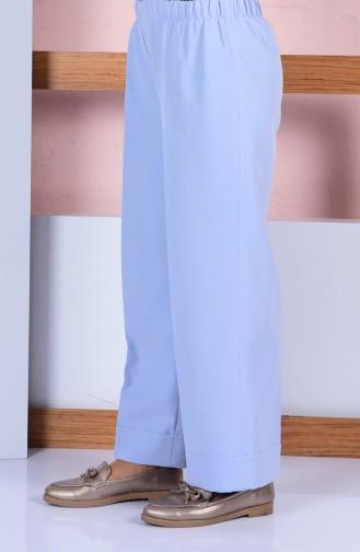 Beli Lastikli Bol Paça Pantolon 3087-09 Buz Mavi 3087-09