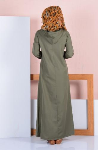 Kapüşonlu Elbise 1454-05 Haki Yeşil