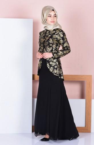 Kemerli Peplum Elbise 3015-04 Siyah
