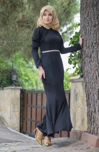 Omuz Detaylı Abiye Elbise 3060-08 Siyah Sefamerve