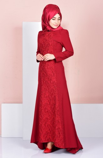 Claret red Islamic Clothing Evening Dress 3016-01