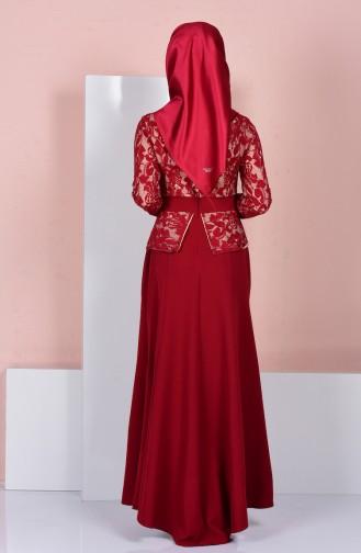 Perlen Abendkleid mit Spitzen 3018-04 Weinrot 3018-04