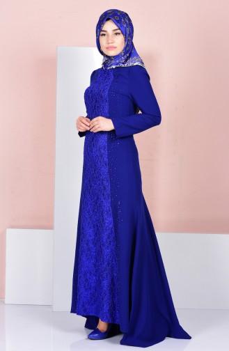 Robe de Soirée Detaillé de Pierre 3016-03 Bleu Roi 3016-03