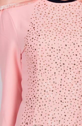 Robe de Soirée Detaillé de Pierre 3016-04 Saumon 3016-04