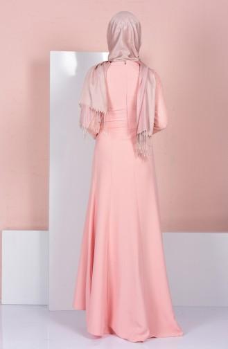 Robe de Soirée a Dentelle 3017-04 Saumon 3017-04
