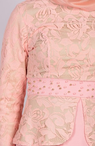 Perlen Abendkleid mit Spitzen 3018-02 Lachs 3018-02