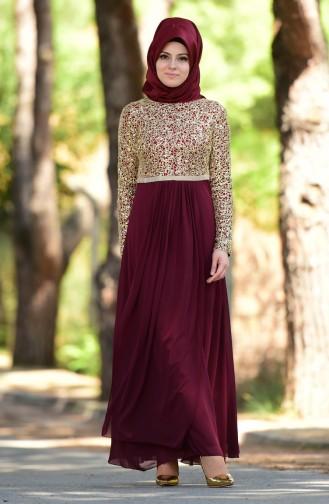 Claret red Islamic Clothing Evening Dress 3094-02