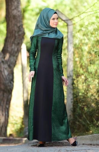 Simli Abiye Elbise 1001-05 Zümrüt Yeşil Sefamerve