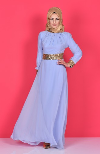 Blue Islamic Clothing Evening Dress 2398-26